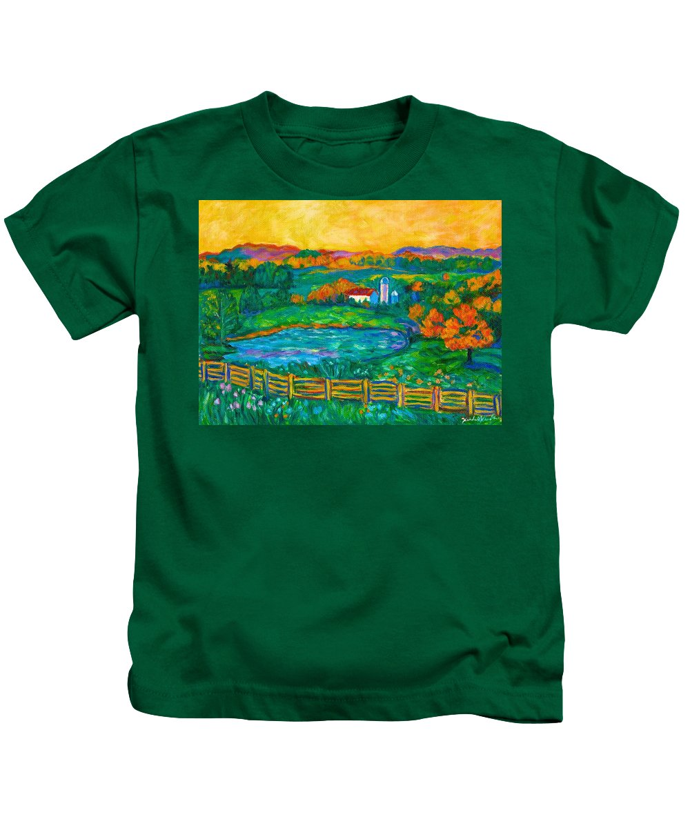 Landscape Kids T-Shirt featuring the painting Golden Farm Scene Sketch by Kendall Kessler