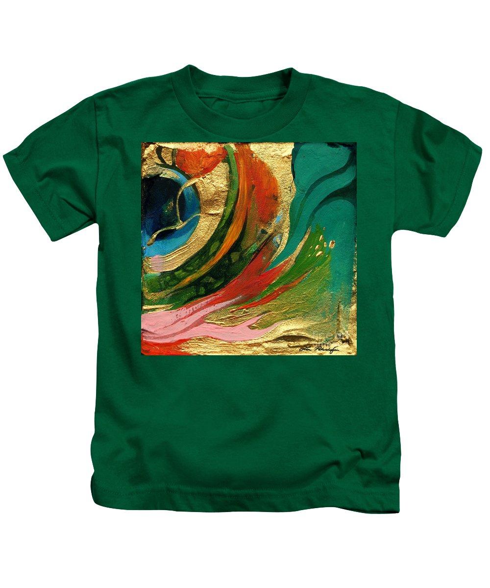 Lin Petershagen Kids T-Shirt featuring the painting Goldy by Lin Petershagen