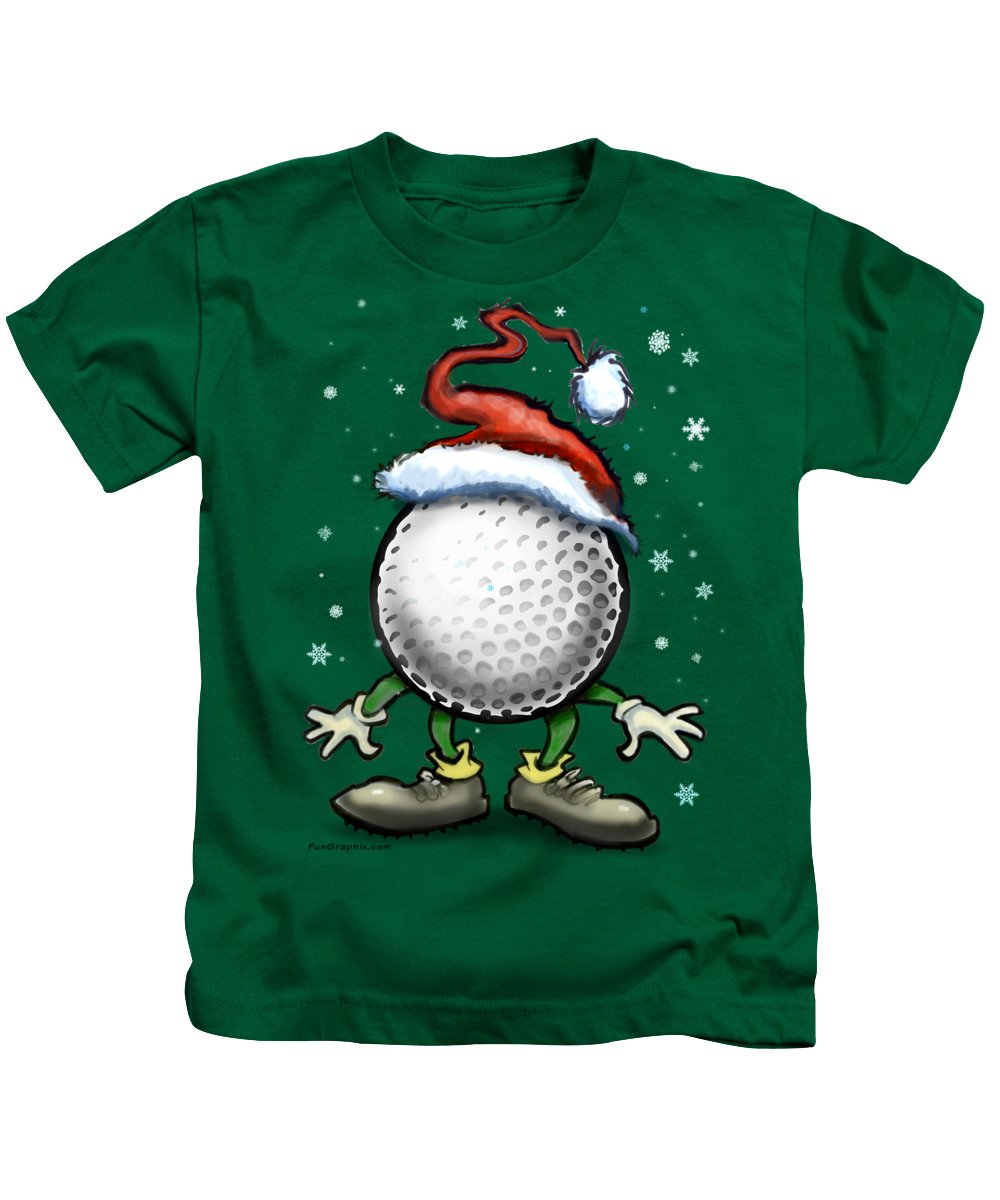 Golf Kids T-Shirt featuring the digital art Golf Christmas by Kevin Middleton