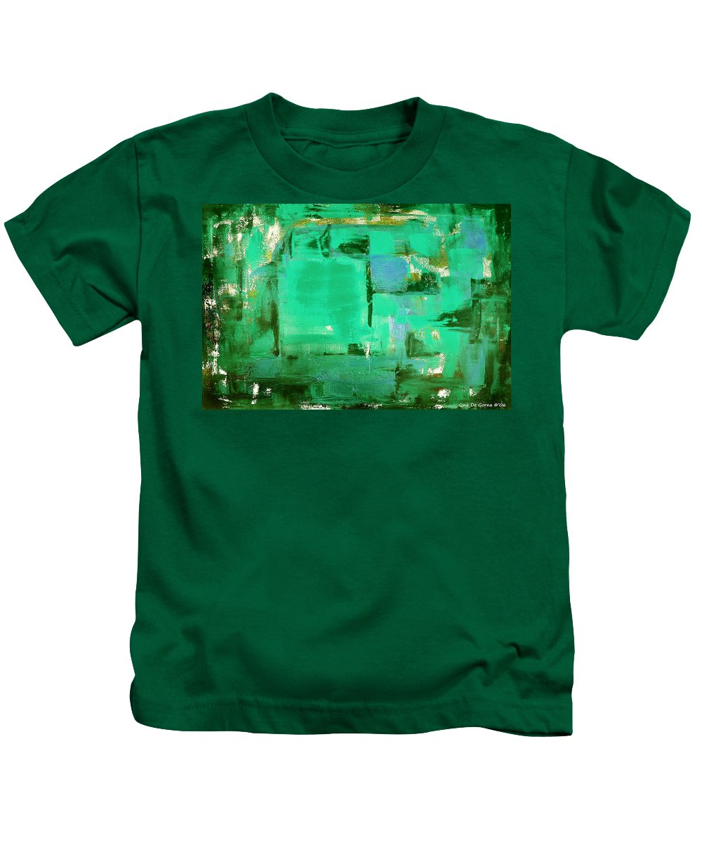 Abstract Kids T-Shirt featuring the painting Green Abstract by Gina De Gorna