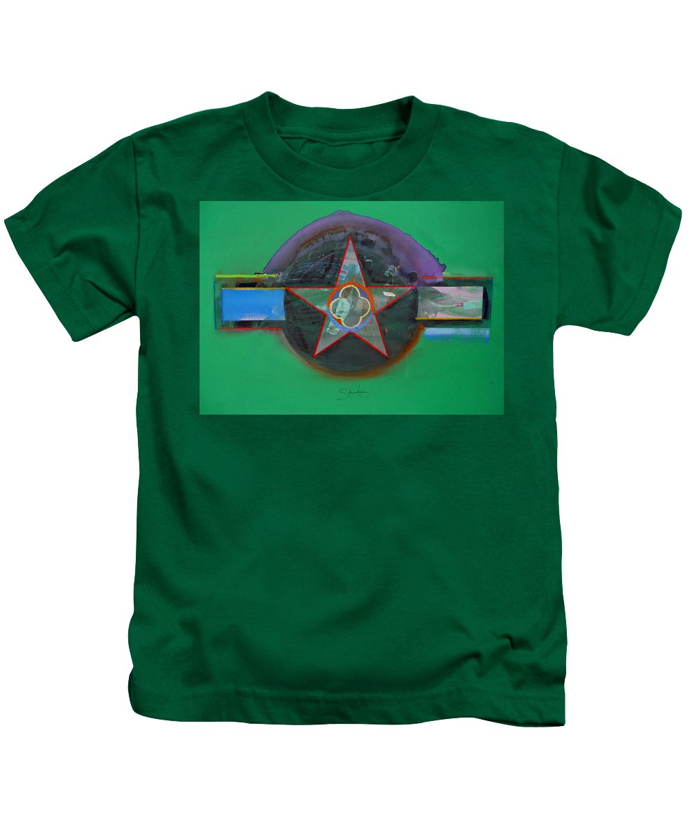 Star Kids T-Shirt featuring the painting Green And Violet by Charles Stuart