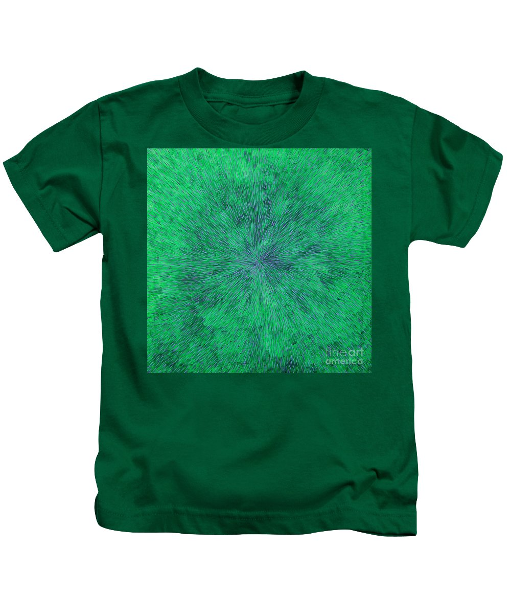 Abstract Kids T-Shirt featuring the painting Green Radation With Violet by Dean Triolo