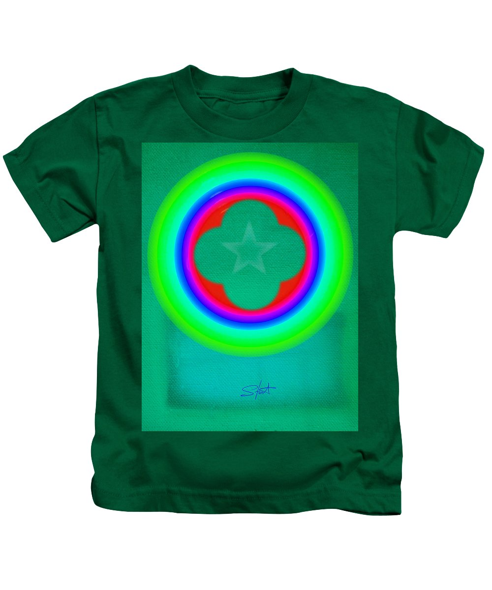 Abstract Kids T-Shirt featuring the painting Green See by Charles Stuart