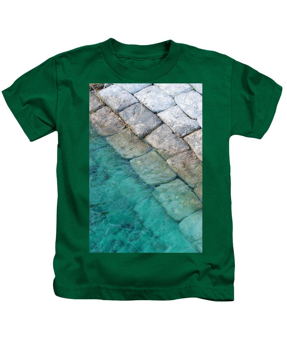 Water Blocks Bricks Kids T-Shirt featuring the photograph Green Water Blocks by Rob Hans