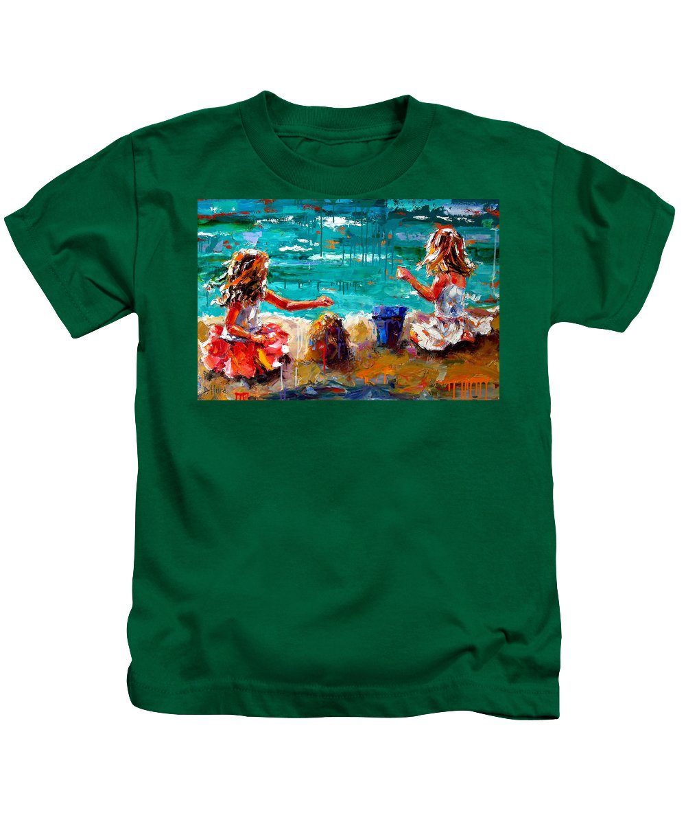 Seascape Kids T-Shirt featuring the painting Her Blue Bucket by Debra Hurd
