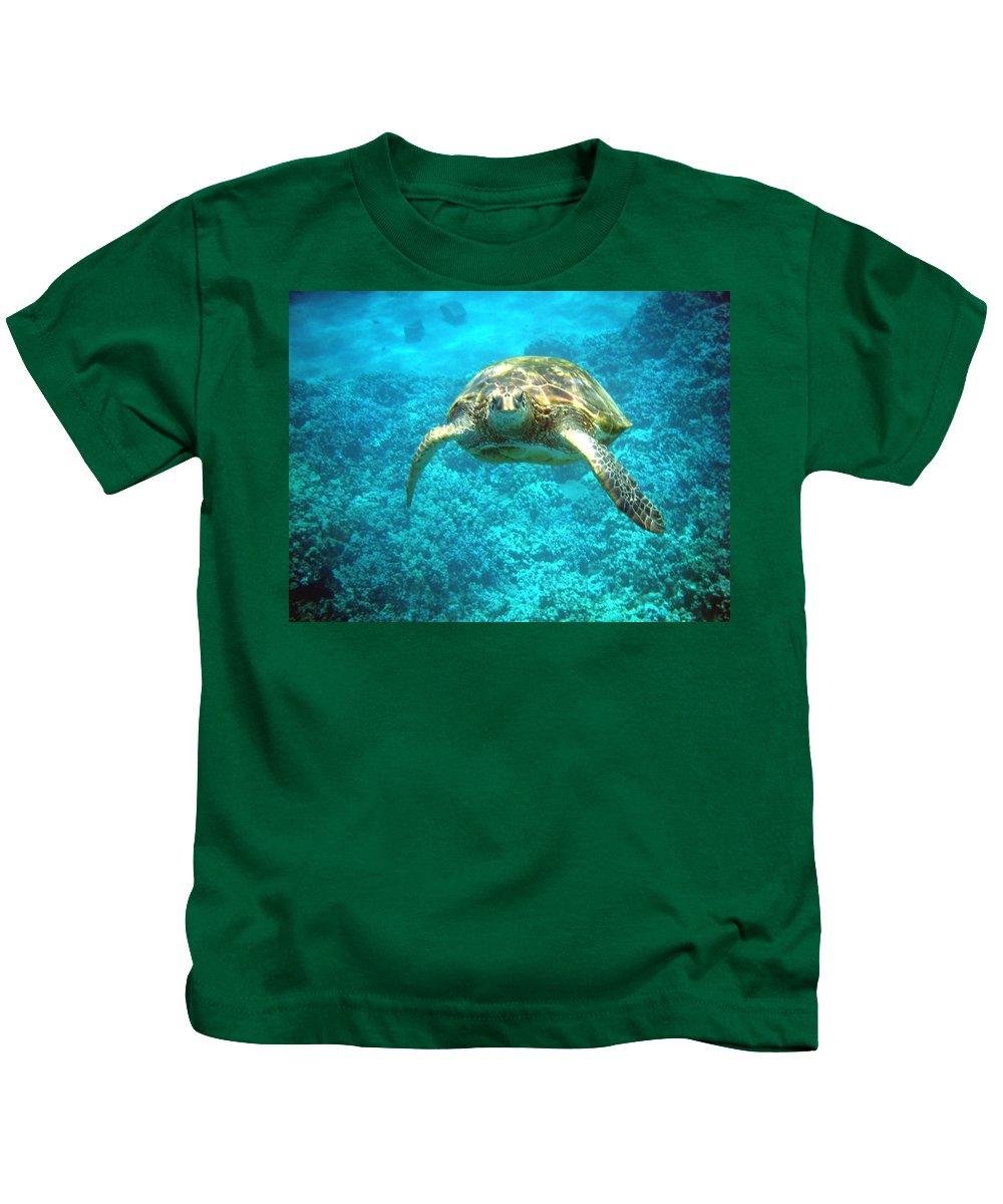 Sea Turtle Kids T-Shirt featuring the photograph Here's Looking At You by Angie Hamlin