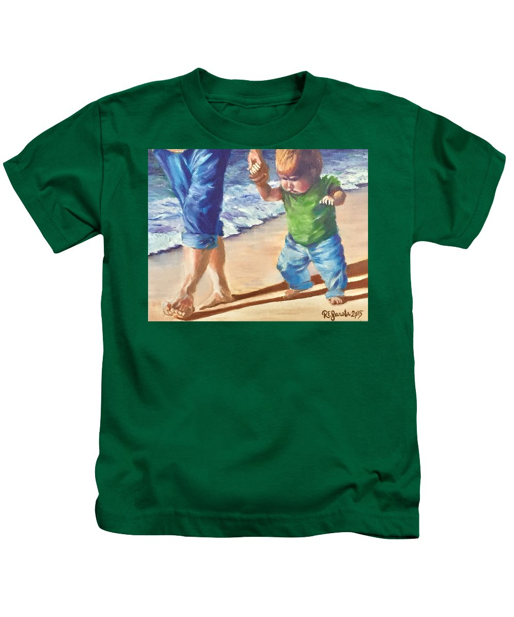 Mother And Child Kids T-Shirt featuring the painting Hold My Hand by Robin Janota