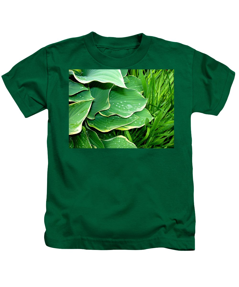 Hostas Kids T-Shirt featuring the photograph Hosta Leaves and Waterdrops by Nancy Mueller
