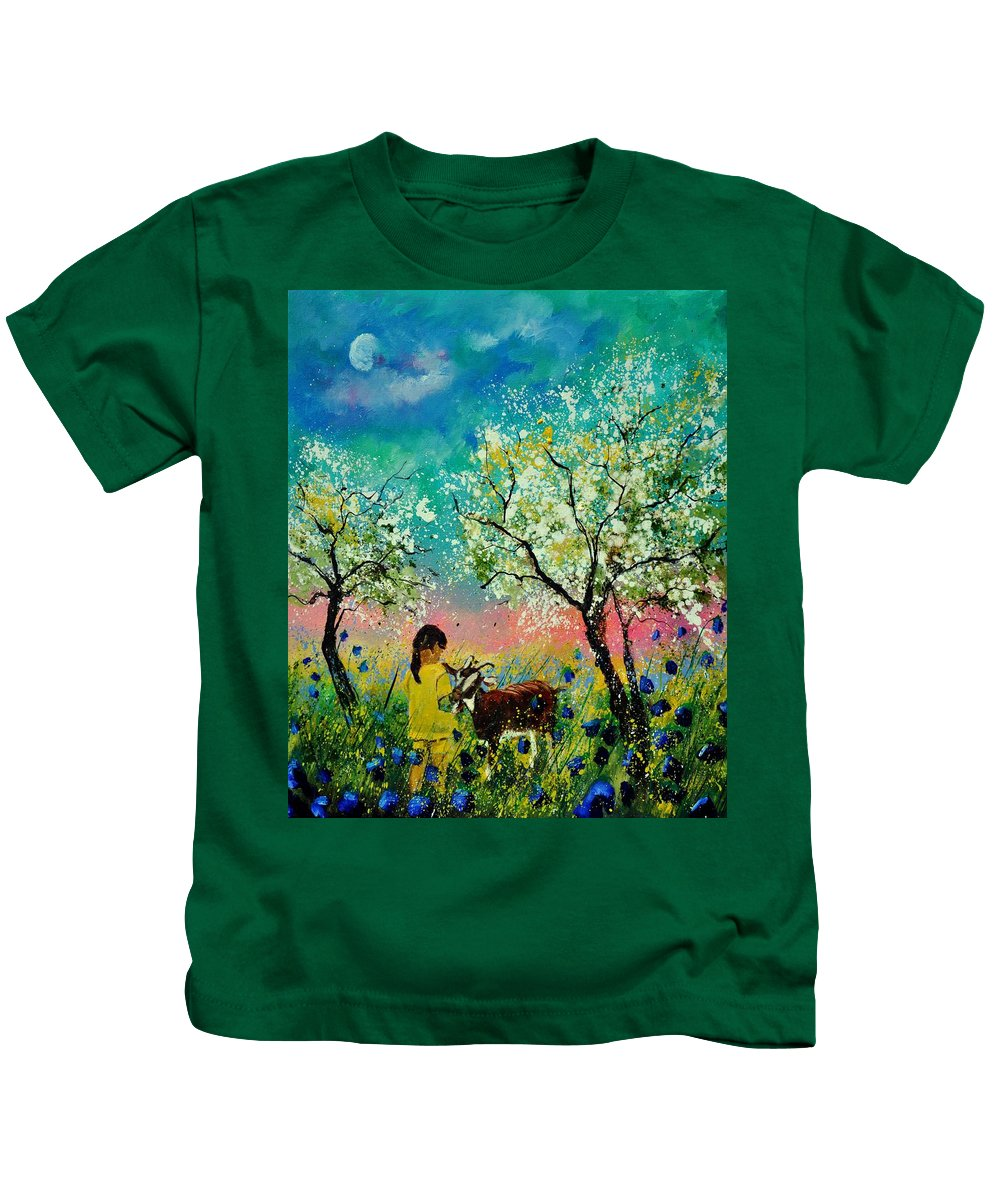 Landscape Kids T-Shirt featuring the painting In the orchard by Pol Ledent