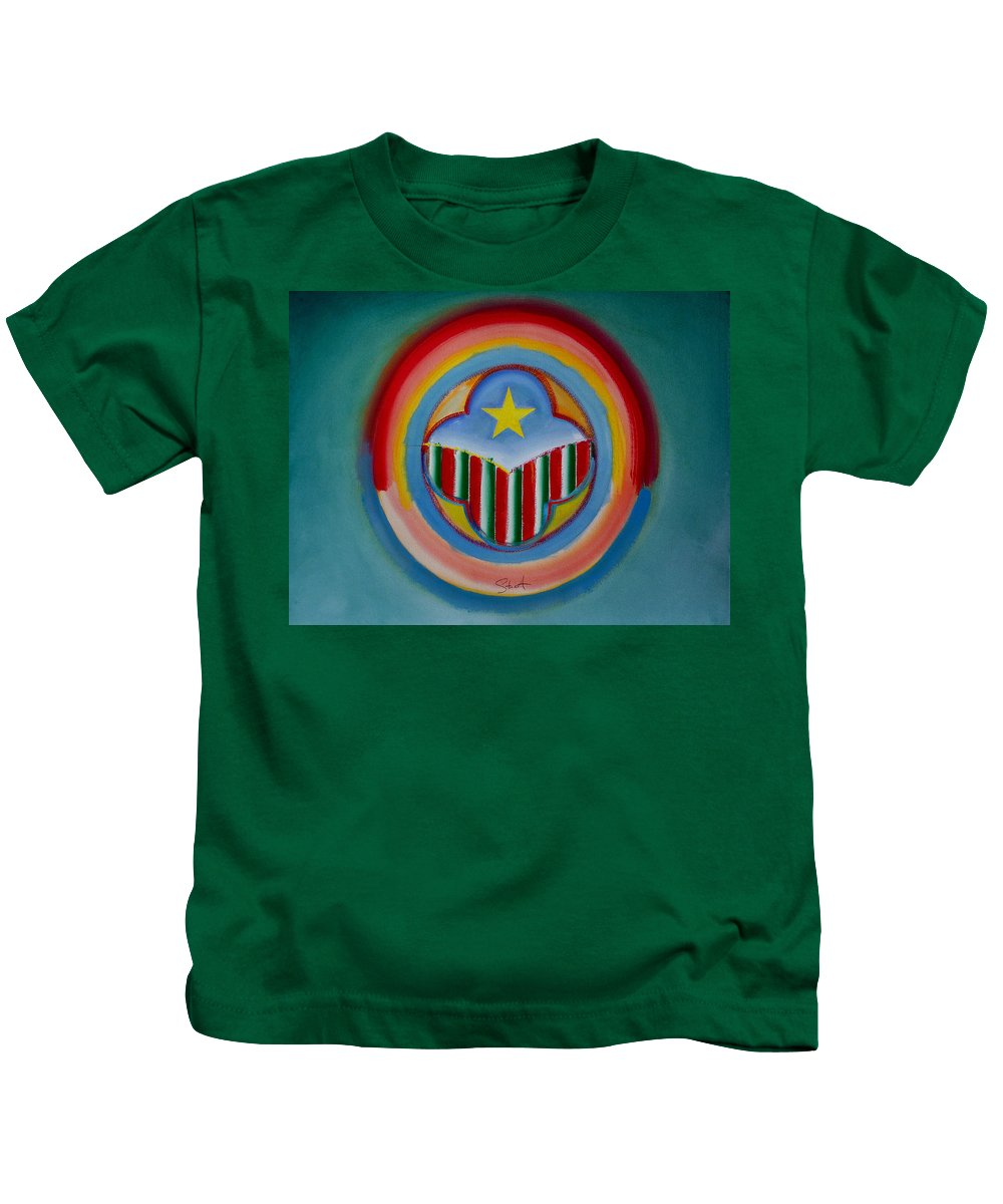 Button Kids T-Shirt featuring the painting Italian American by Charles Stuart