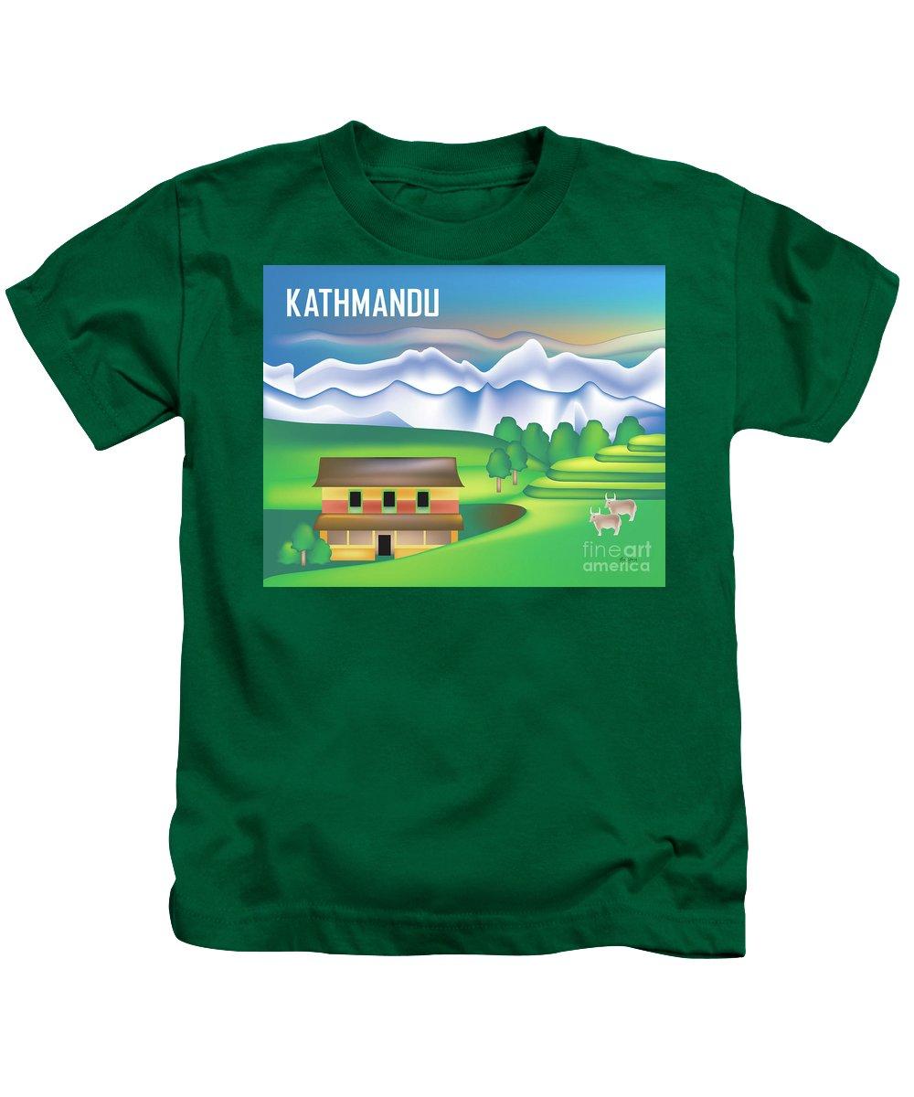 Kathmandu Valley Kids T-Shirt featuring the digital art Kathmandu Nepal Horizontal Scene by Karen Young