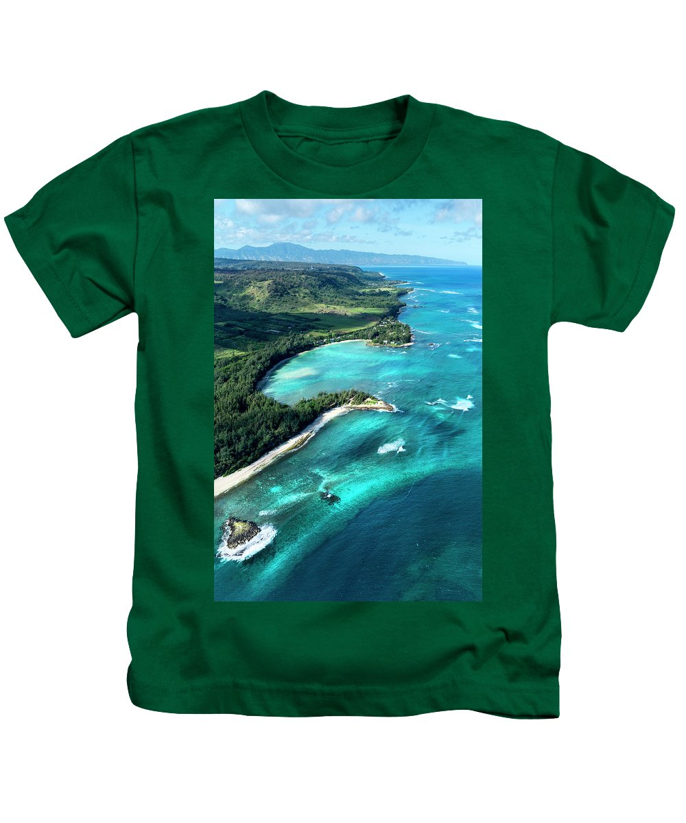 Kawela Bay Overview Kids T-Shirt featuring the photograph Kawela Bay, Looking West by Sean Davey