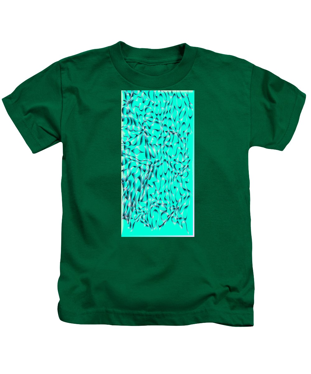 Rithmart Abstract Digital Computer Generated Organic Random Iterative Recursive 1000wx2000h 216 217 252 255 2wx4h Algorithm Another Blue Color Colors Squiggles Doodles Combination Determined Drawing Drawn Green Image Images Line Lines Made One Pixels Randomly Red Scale Series Shaded Shape Two Using Values Kids T-Shirt featuring the digital art L9-103-255-217-252-0-255-216-2x4-1000x2000 by Gareth Lewis