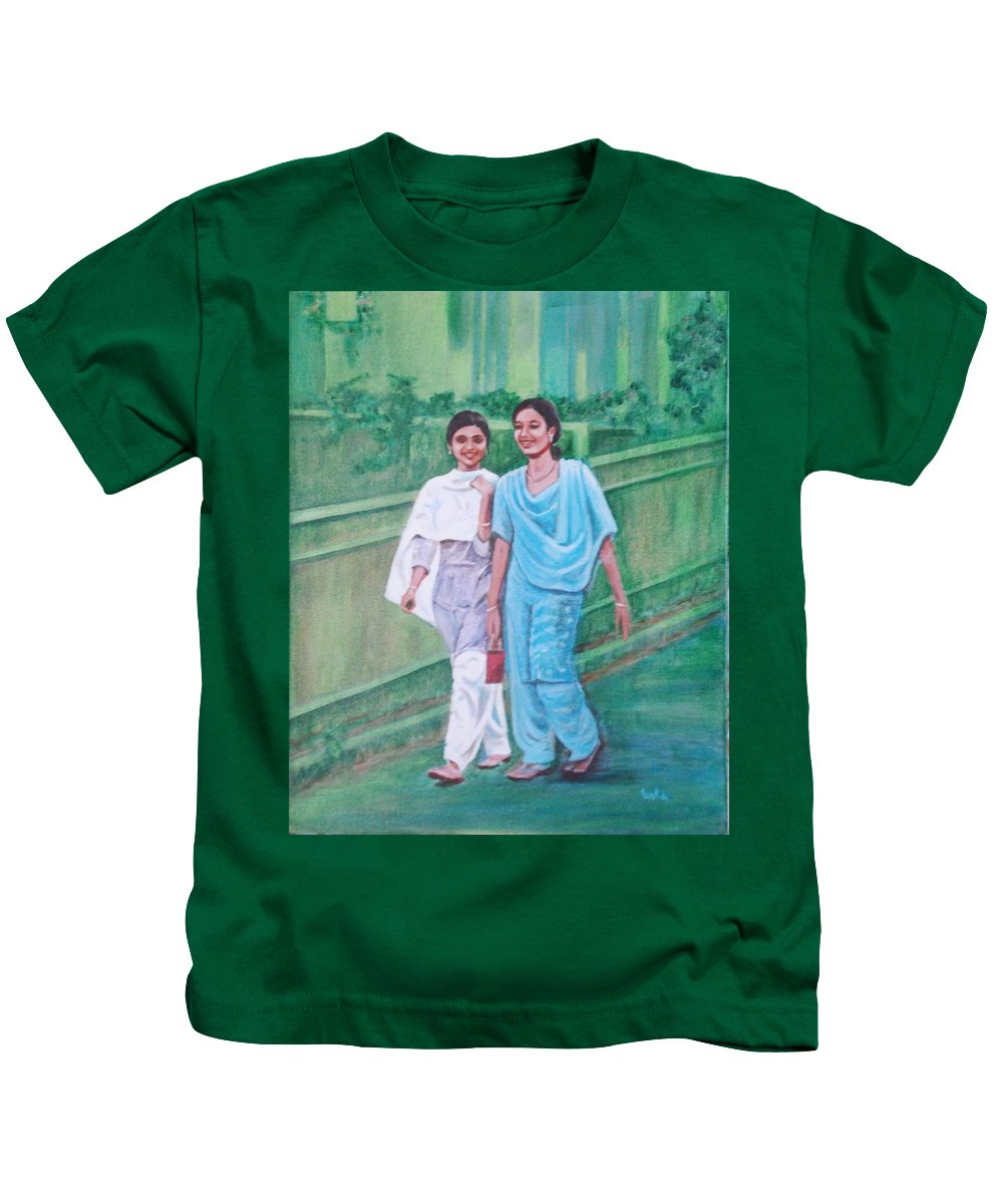 Kids T-Shirt featuring the painting Laughing Girls by Usha Shantharam