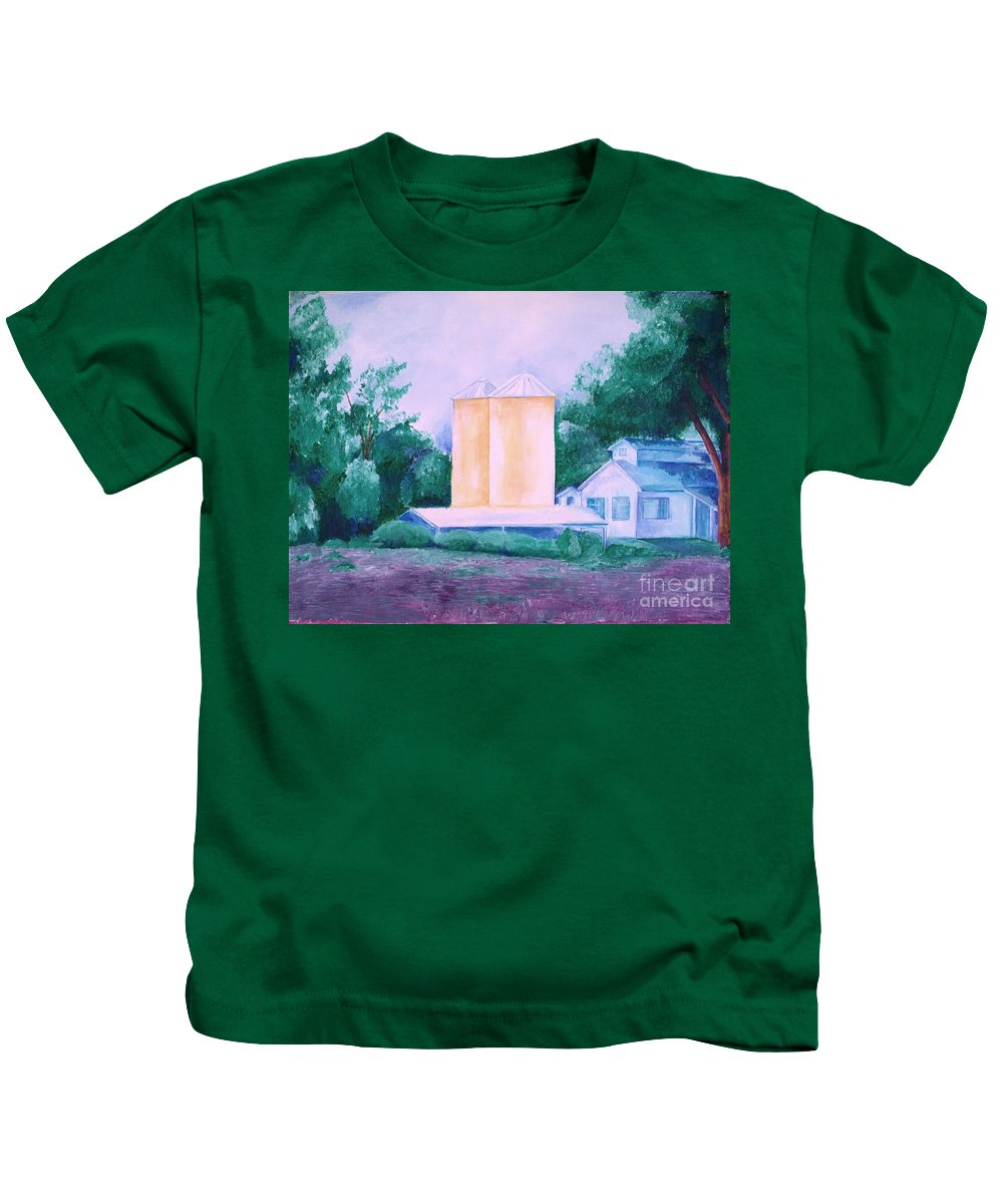 Western Kids T-Shirt featuring the painting Lavender Farm Albuquerque by Eric Schiabor