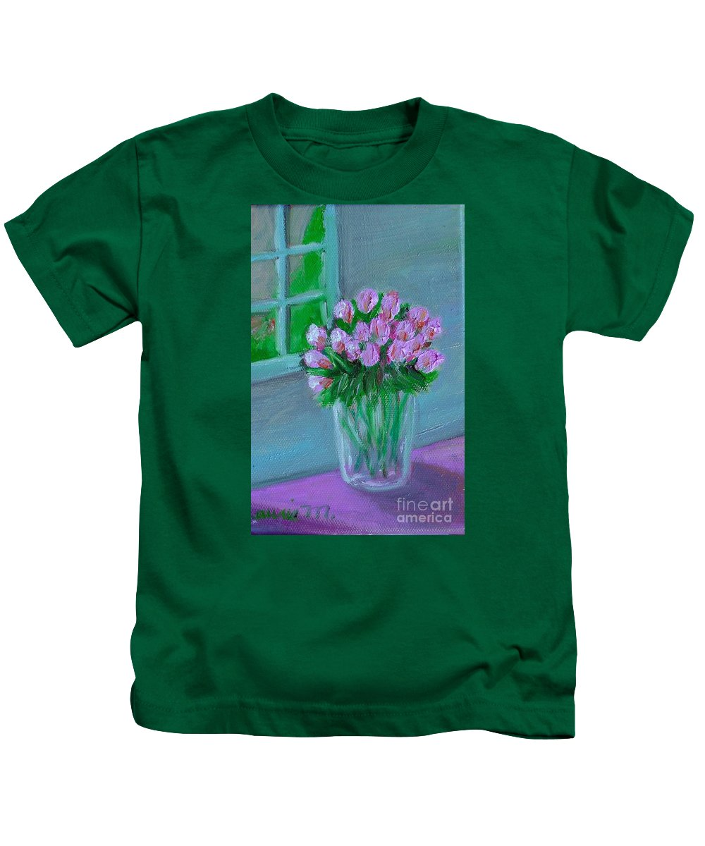 Rose Kids T-Shirt featuring the painting Leslie's Roses by Laurie Morgan