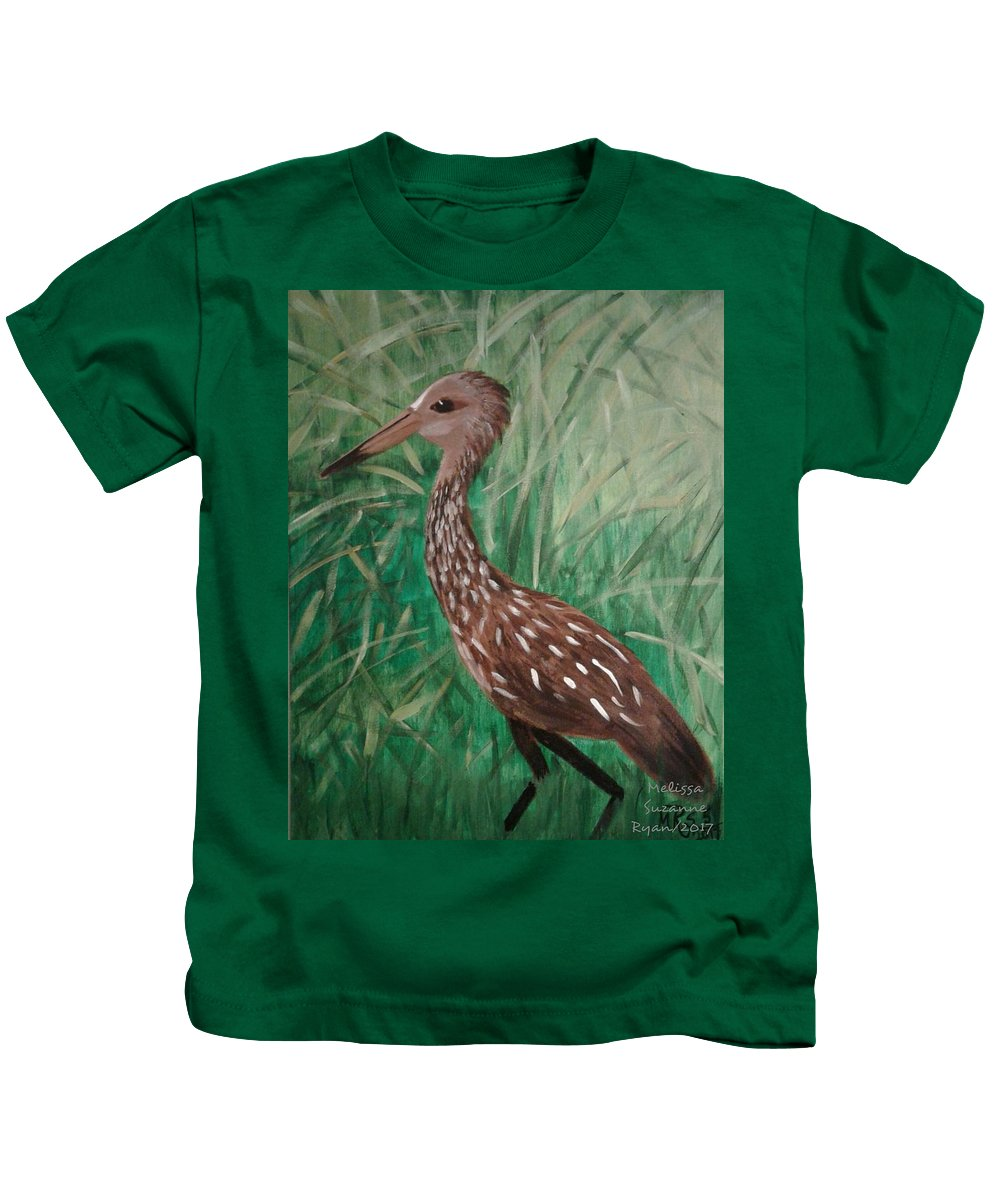 Water Bird Kids T-Shirt featuring the painting Limpkin by Melissa Suzanne Ryan
