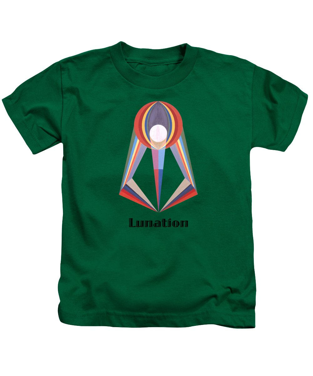 Painting Kids T-Shirt featuring the painting Lunation text by Michael Bellon