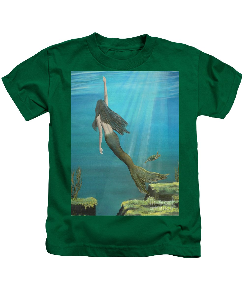 Mermaid Kids T-Shirt featuring the painting Mermaid Of Weeki Wachee by Kris Crollard