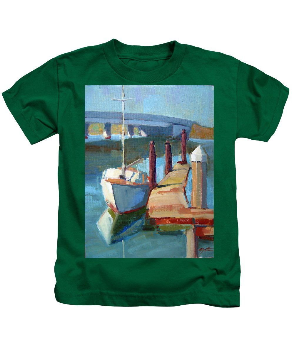Boat Kids T-Shirt featuring the painting Moss Landing Morning by Sandra Smith-Dugan