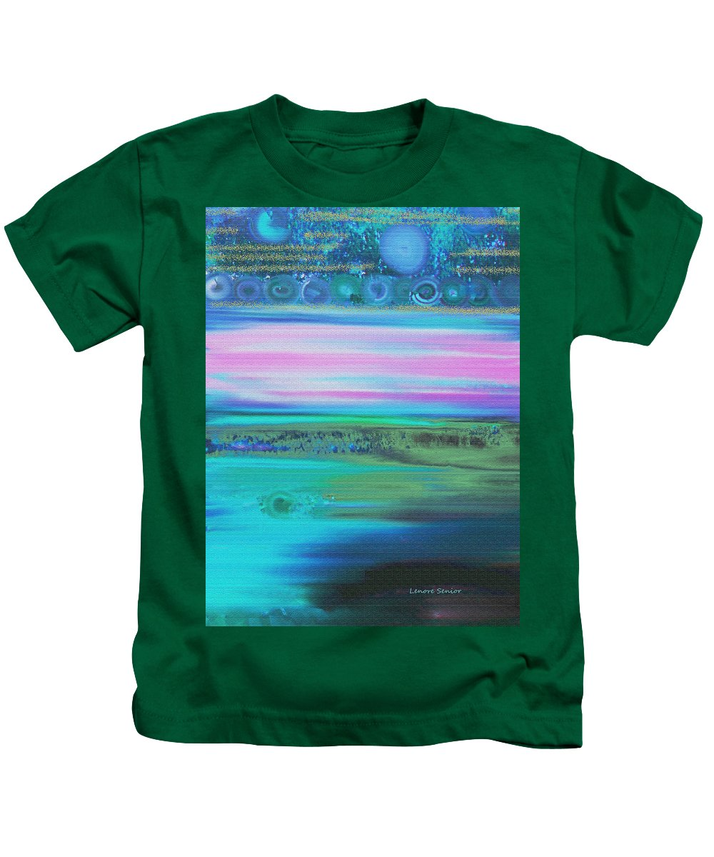 Abstract Kids T-Shirt featuring the painting On Another Planet by Lenore Senior