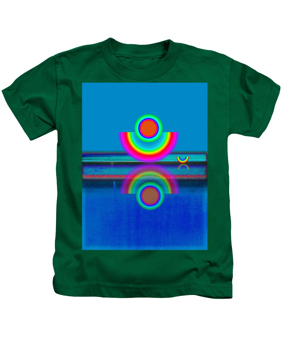 Reflections Kids T-Shirt featuring the painting Pale Blue Reflections by Charles Stuart