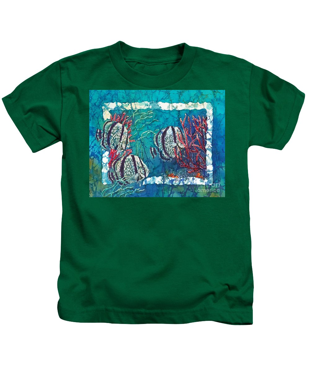 Fish Kids T-Shirt featuring the painting Playful Trio by Sue Duda