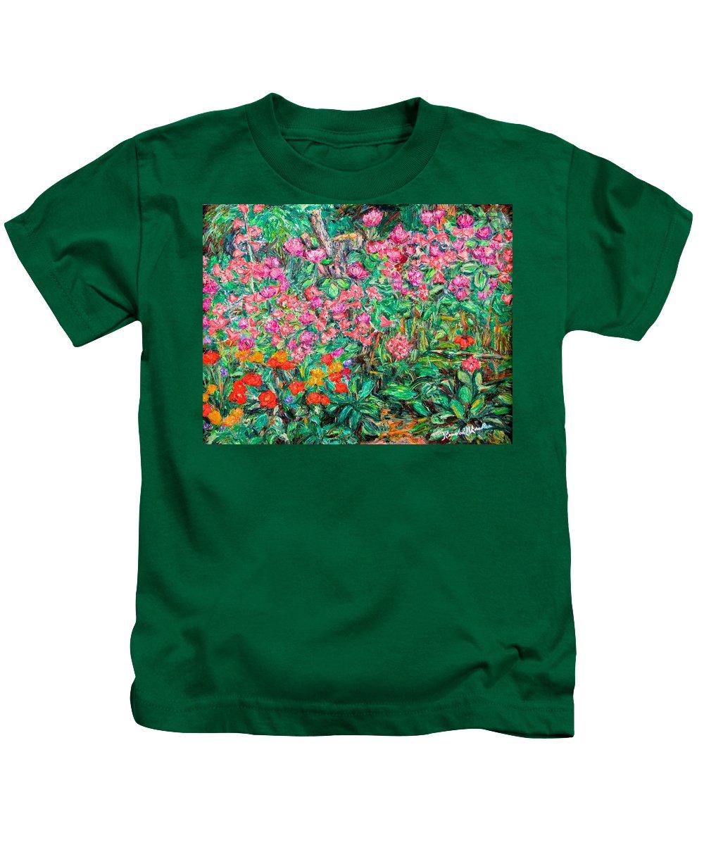 Kendall Kessler Kids T-Shirt featuring the painting Radford Flower Garden by Kendall Kessler