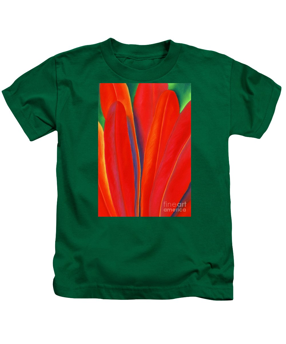 Red Kids T-Shirt featuring the painting Red Petals by Lucy Arnold