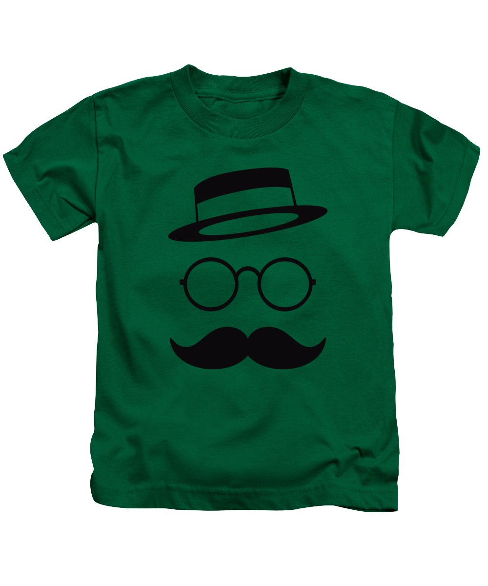 Les Claypool Kids T-Shirt featuring the digital art Retro Minimal Vintage Face With Moustache And Glasses by Philipp Rietz