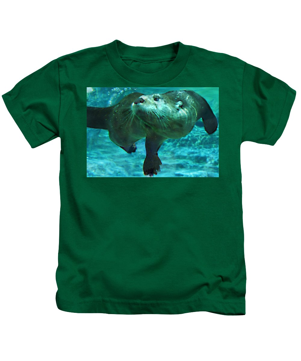 Animal Kids T-Shirt featuring the photograph River Otter by Steve Karol