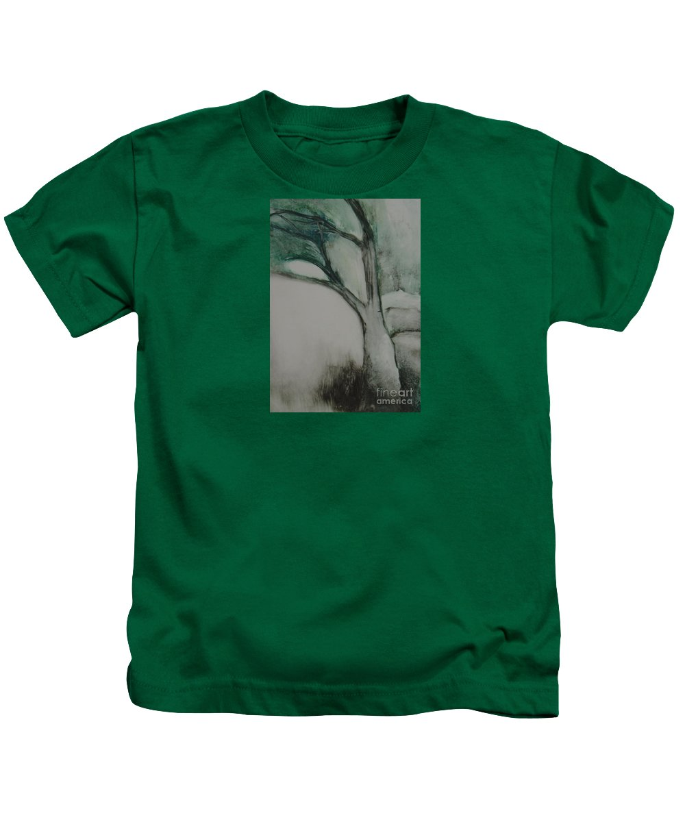 Monoprint Tree Rock Trees Kids T-Shirt featuring the painting Rock Tree by Leila Atkinson