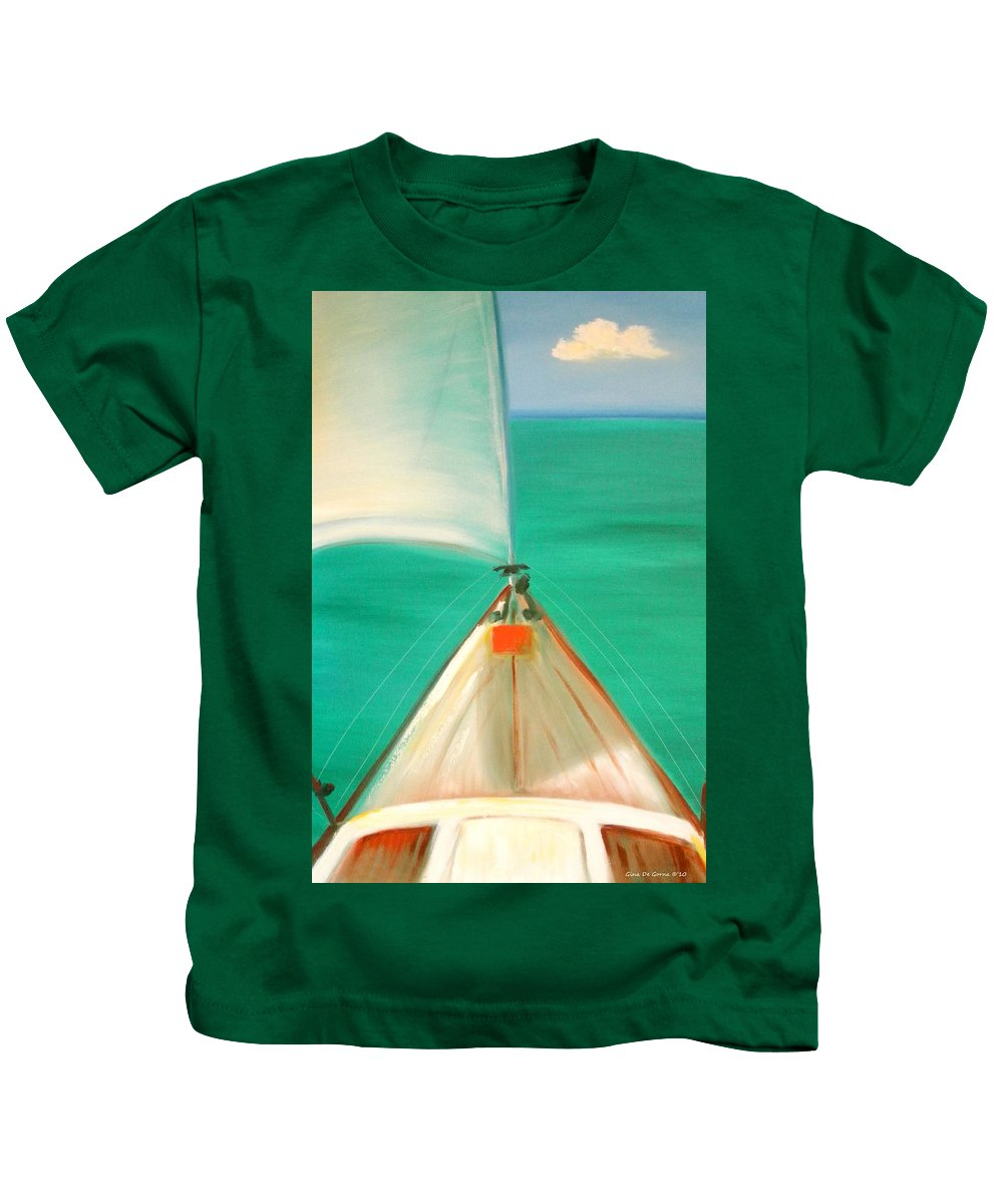 Sea Kids T-Shirt featuring the painting Sailing by Gina De Gorna