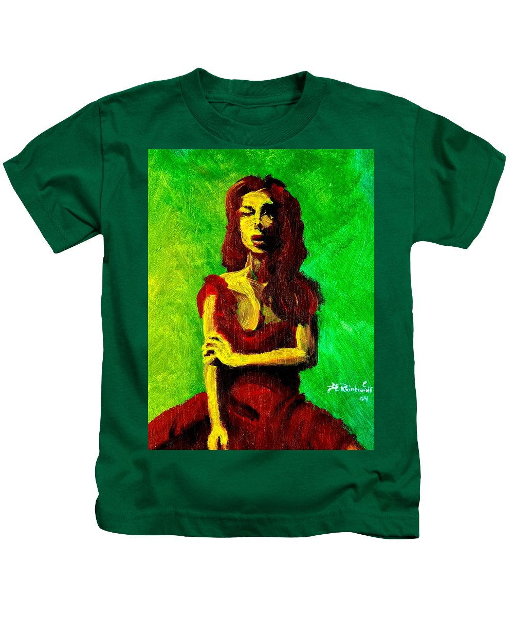 Expressionist Kids T-Shirt featuring the painting Scarlet by Jason Reinhardt