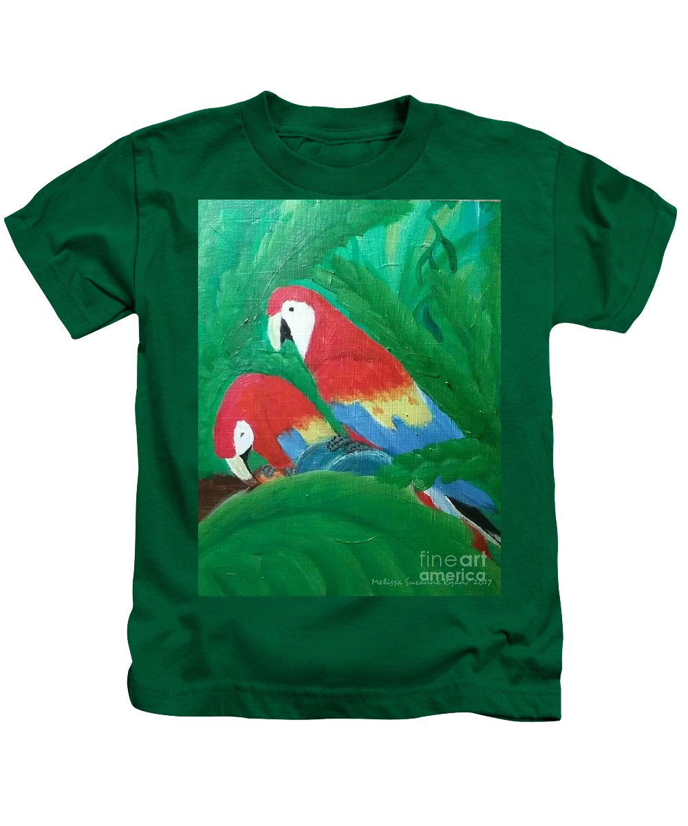 Macaws Kids T-Shirt featuring the painting Scarlet Macaws by Melissa Suzanne Ryan