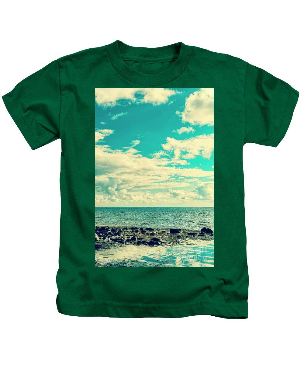Horizon Kids T-Shirt featuring the photograph Seascape Cloudscape Instagramlike by Antony McAulay