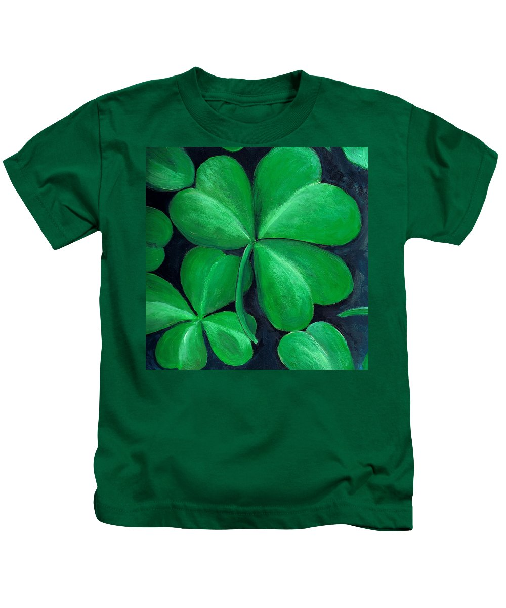 Shamrock Kids T-Shirt featuring the painting Shamrocks by Nancy Mueller