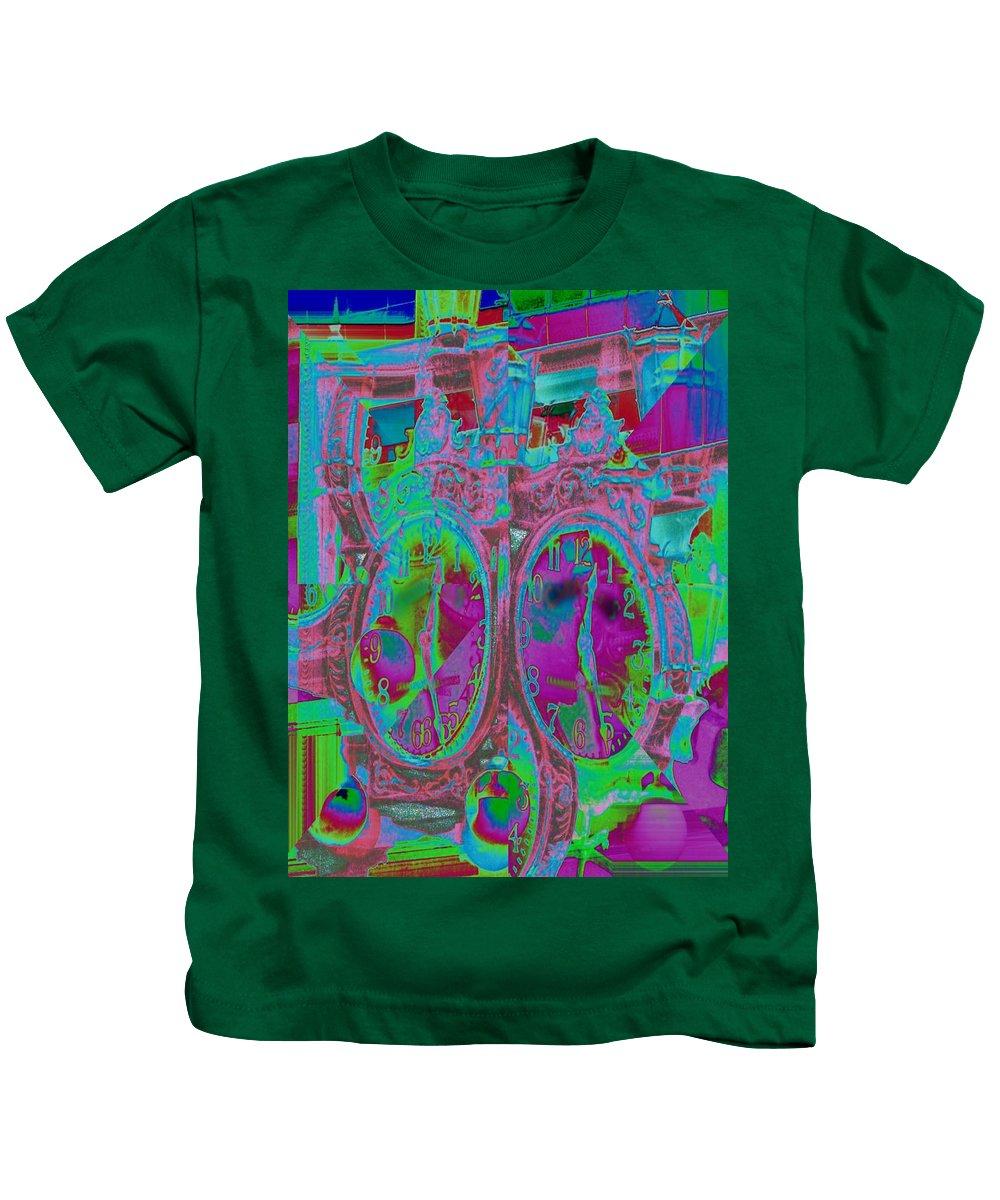 Clock Kids T-Shirt featuring the digital art Sidewalk Timepiece by Tim Allen