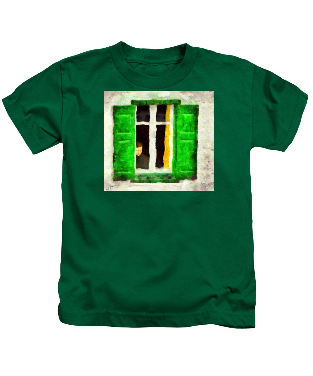 Solitude Kids T-Shirt featuring the painting Solitude by George Rossidis
