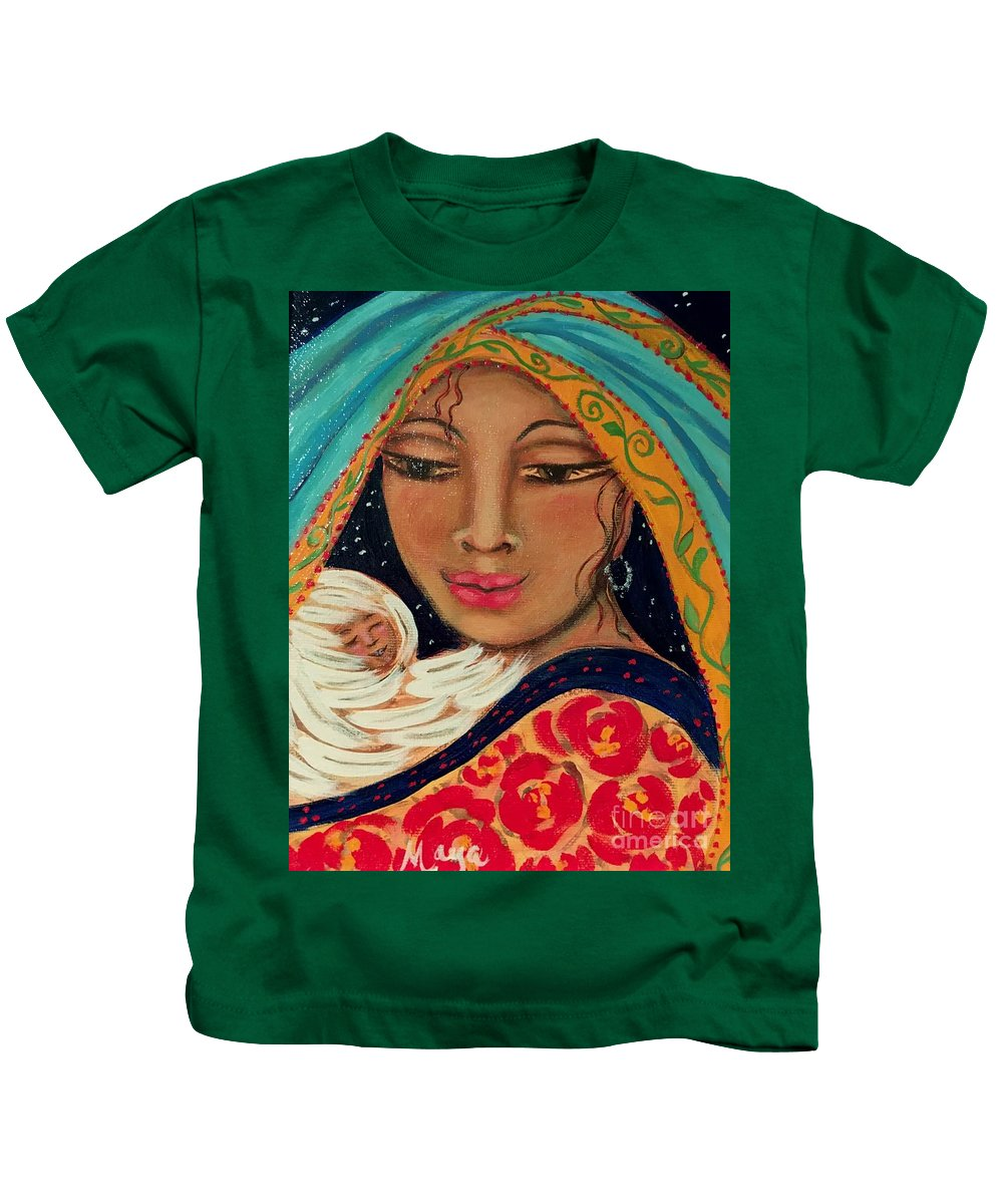 Sacred Art Kids T-Shirt featuring the painting Someone To Watch Over Me by Maya Telford
