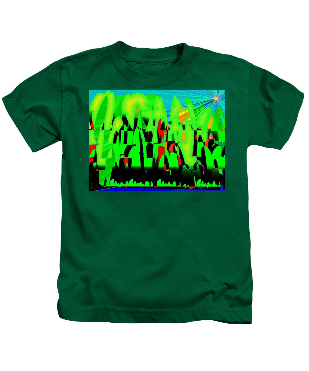 Spring.forest Kids T-Shirt featuring the digital art Spring In Digital Forest by Helmut Rottler
