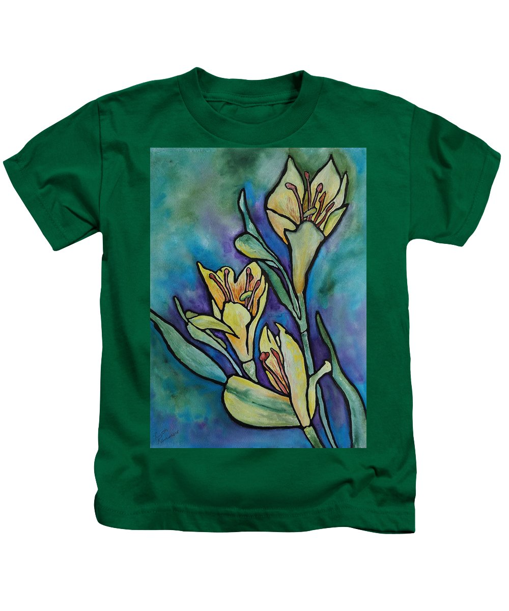 Flowers Kids T-Shirt featuring the painting Stained Glass Flowers by Ruth Kamenev