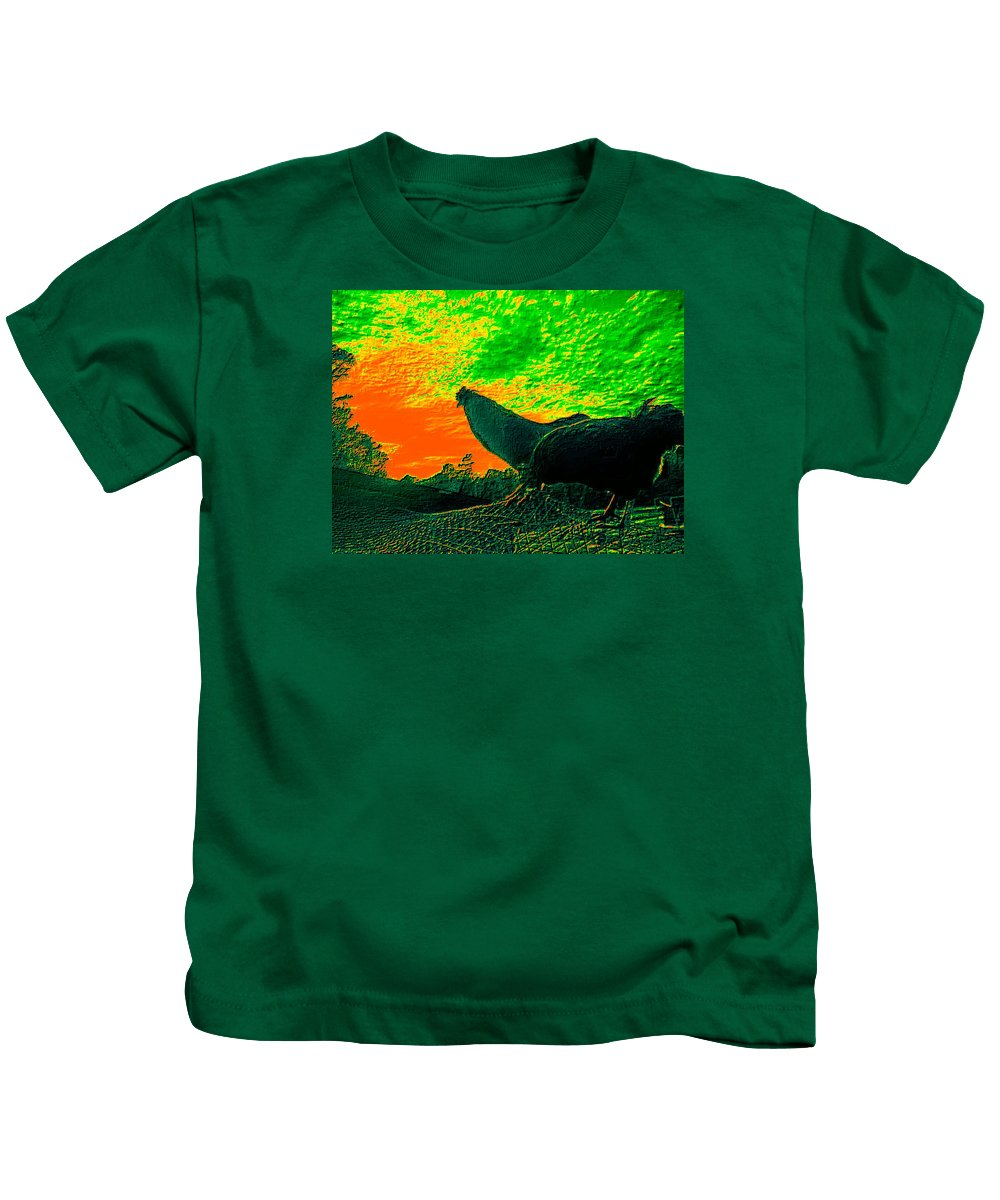 Sunset Kids T-Shirt featuring the photograph Sunset Rooster by Dawn Mullis