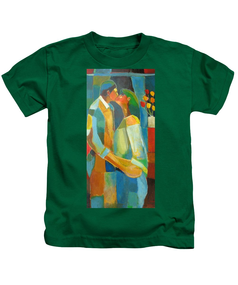 Love Abstract Kids T-Shirt featuring the painting The Sweet Kiss by Habib Ayat