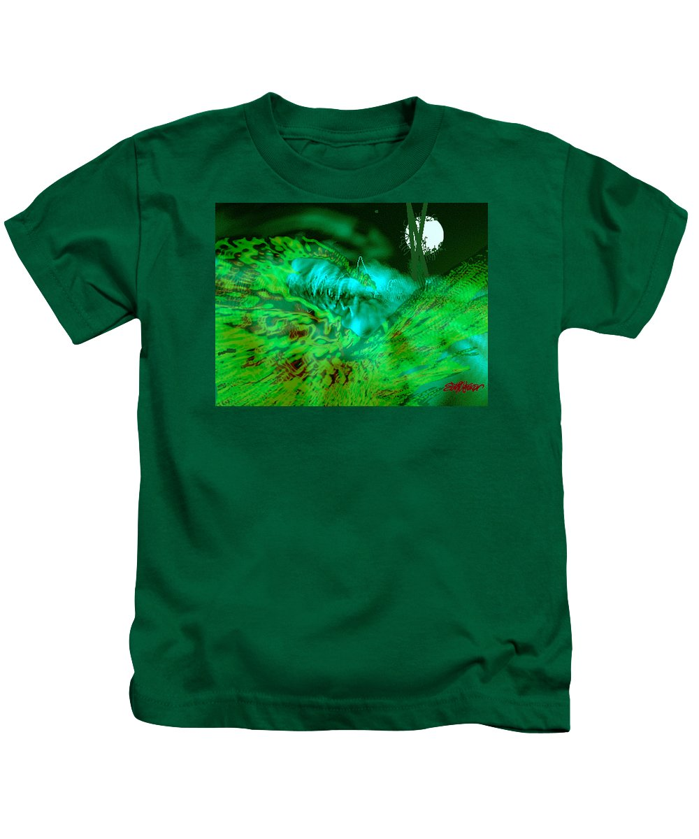 Compullage� Kids T-Shirt featuring the digital art The Winged Terror Of Titicaca by Seth Weaver