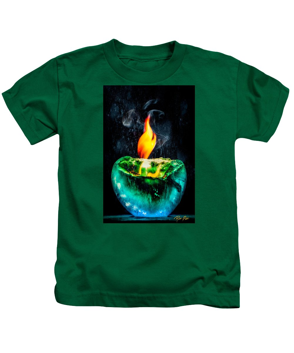 Abstract Kids T-Shirt featuring the photograph The Winter Of Fire And Ice by Rikk Flohr