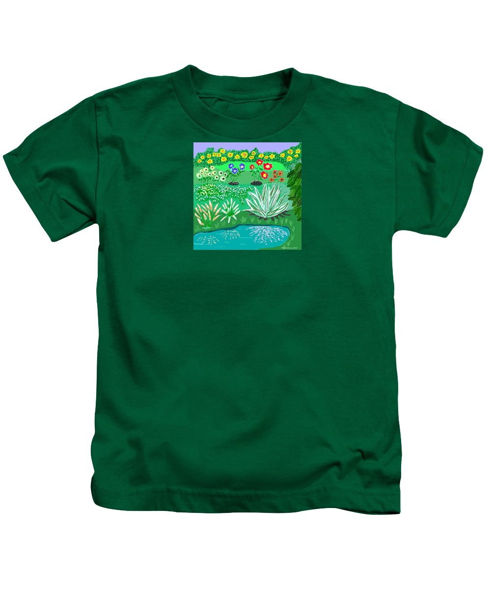 Floral Kids T-Shirt featuring the painting Tiny Garden by Fred Jinkins