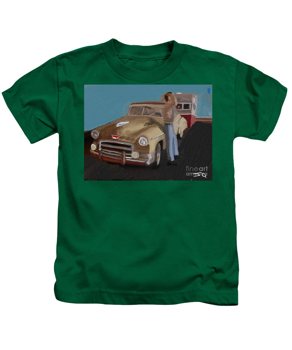 Toy Kids T-Shirt featuring the digital art Toy Car Holiday by Julie Grimshaw