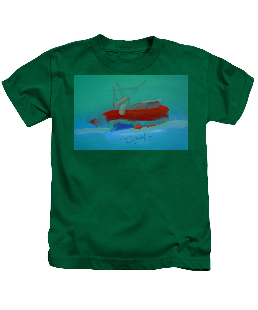 Fishing Boat Kids T-Shirt featuring the painting Trawler by Charles Stuart