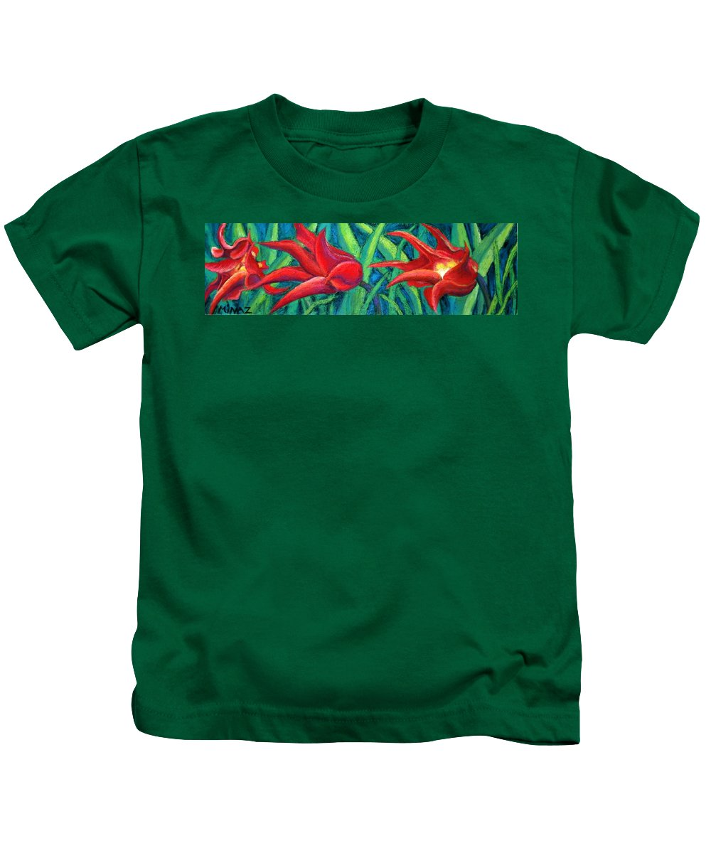 Tulips Kids T-Shirt featuring the painting Triple Tease Tulips by Minaz Jantz